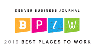 Badge - voted one of 2019's best places to work by the Denver Business Journal.
