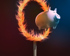 image of a piggy bank jumping through a ring of fire