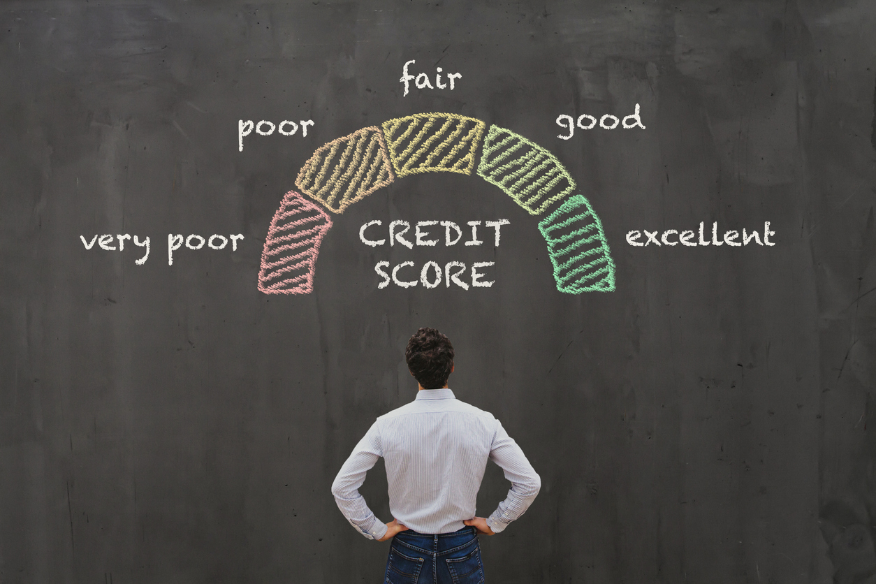 credit score concept, poor or excellent, loan in bank