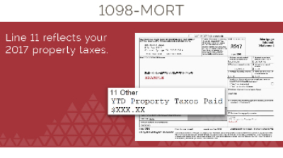 1098-Mortgage Tax Document Screenshot, Line 11 Property Taxes