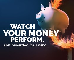 Pig jumping through flaming hoop. Text: Watch your money perform. Get rewarded for saving.